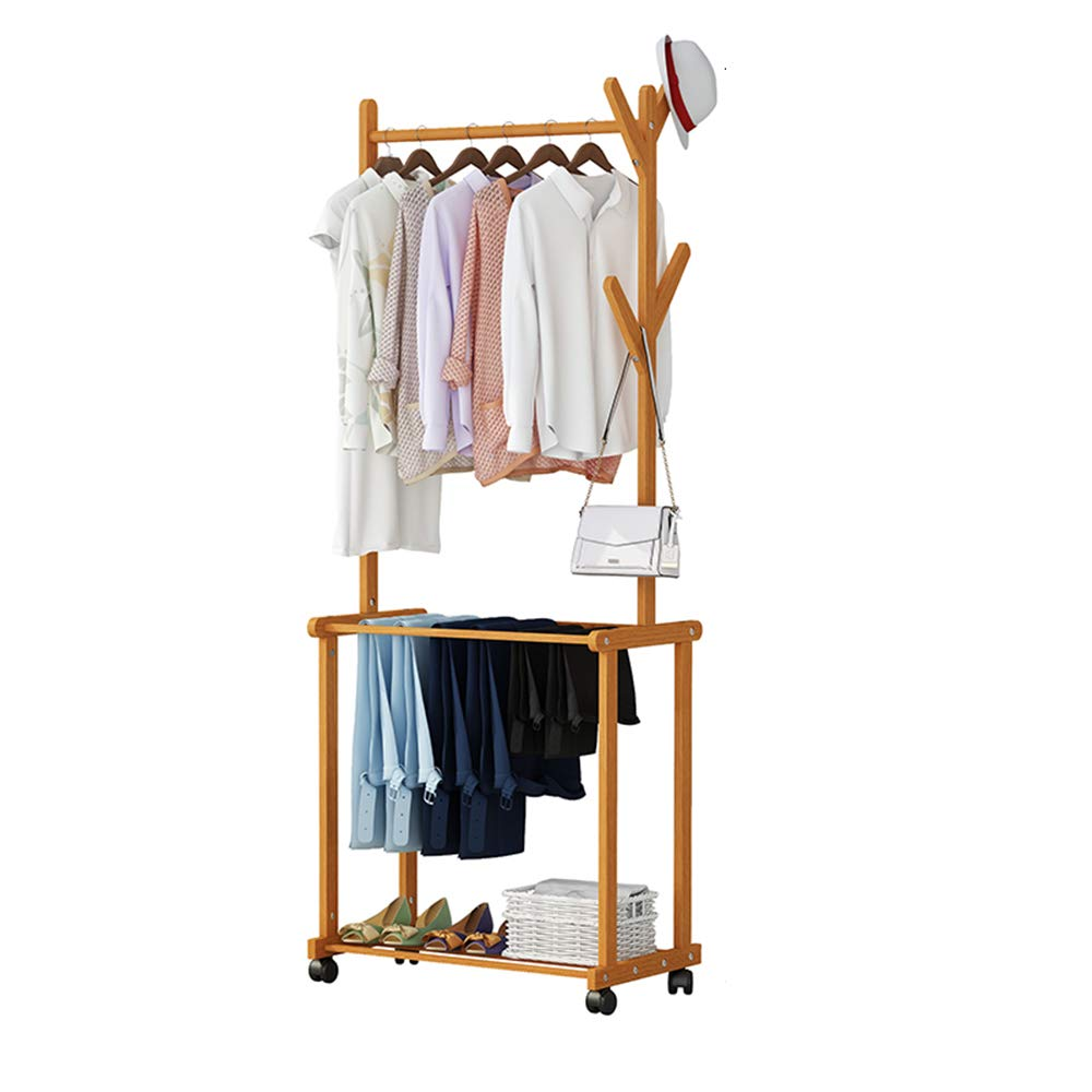 6037175CM ZHIRONG Bamboo Coat Rack Pants Rack shoes Rack Mobile Hangers Stand Hat Handbag Hanger Hall Hanging Rod Tree Branches with 6 Hooks (Size   100  37  175CM)