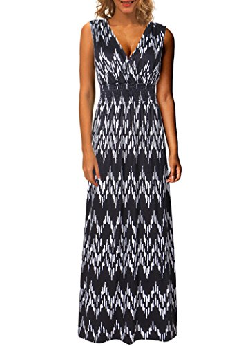 Kranda Women's V Neck Sleeveless Elastic Waist Striped Maxi Dress (Medium, Multi Black)
