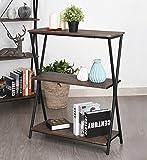 Aingoo 3 Shelf Bookcase, Vintage Industrial Bookshelf, MDF with Metal Frame Shelving Unit, Home Office Shelf Organizer, Multipurpose Storage Shelf Display Rack (Brown)