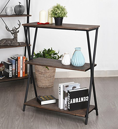 Bookcase Ladder Desk (Aingoo 3 Shelf Bookcase, Vintage Industrial Bookshelf, MDF Metal Frame Shelving Unit, Home Office Shelf Organizer, Multipurpose Storage Shelf Display Rack (Brown))