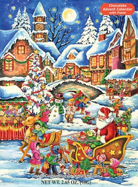 Santa's Here Chocolate Advent Calendar 2.65 oz (75