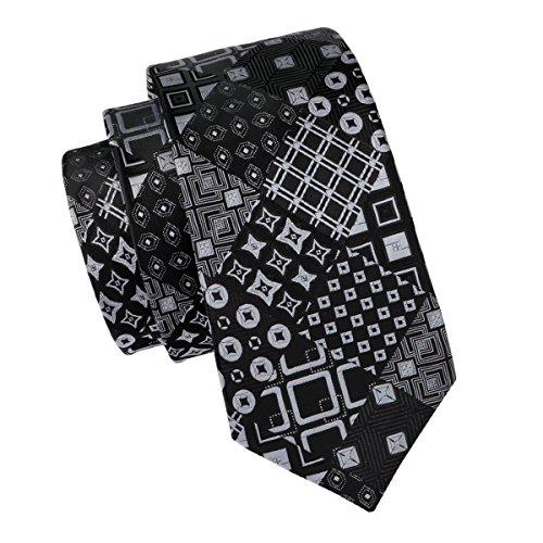 - Hi-Tie Men Classic Black Grey Tie Pocket Square and Cufflinks Tie Set Gift Box (Black novelty)