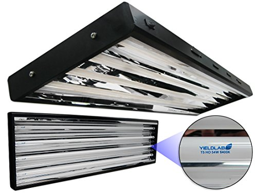 Yield Lab 54w T5 Four Bulb Fluorescent Grow Light Panel (6400K) - Hydroponic, Aeroponic, Horticulture Growing Equipment