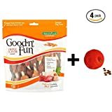 Good'n'Fun Triple Flavored Kabobs Rawhide Chews for Dogs 12 oz- 18 count + Dog Toy, 4-Pack