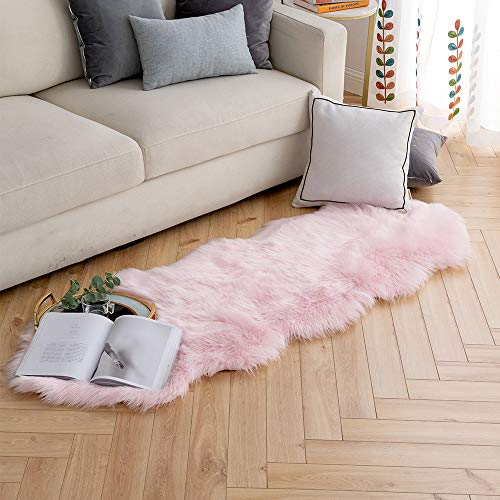 - Carvapet Luxury Soft Faux Sheepskin Couch Seat Cushion Fake Fur Area Rugs for Bedroom and Living Room Runner, 2ft x 6ft, Baby Pink