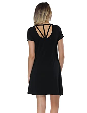 44e56077ef2 OPSLEA Womens Short Sleeve Casual Swing Dresses Flare Mini Skater Dress  Knee Length T Shirt Summer