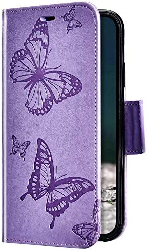 Uposao Kompatibel mit Huawei Honor 8C Hülle Vintage Dünne Handyhülle Schmetterling Muster Flip Brieftasche Schutzhülle Karte Halter Leder Hülle Case Ledertasche Ständer Klapphülle,Lila
