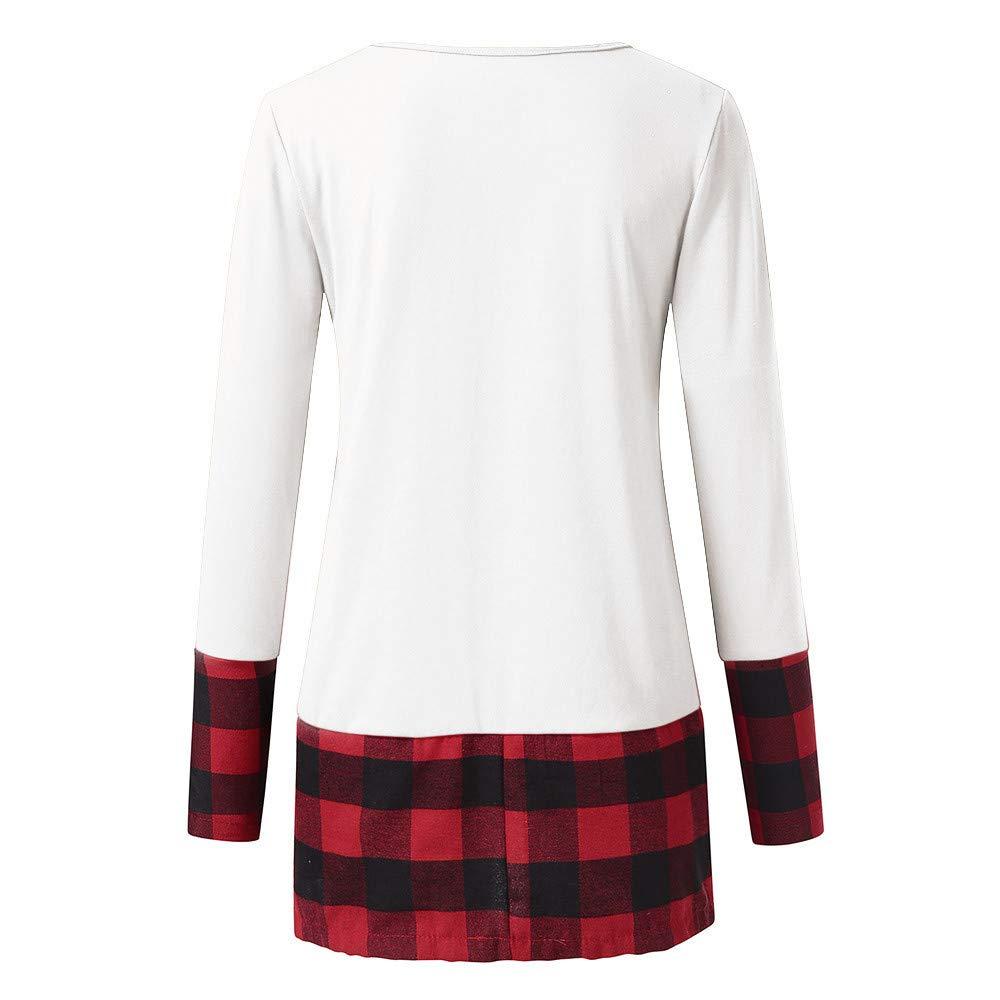 F/_Gotal Merry Christmas Reindeer Graphic Cute Shirt Womens Plaid Splicing Long Sleeve Raglan Tees Baseball Tops Pocket