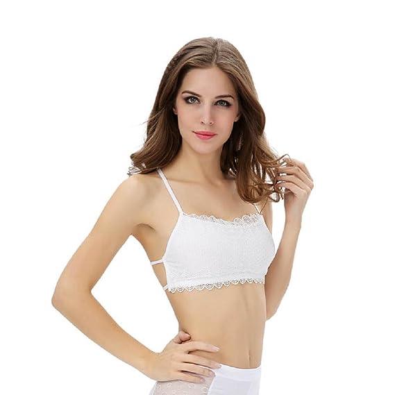 Sannysis Ropa Interior del Sujetador - Mujer Chaleco sin Espalda, Sujetador de algodón (Blanco