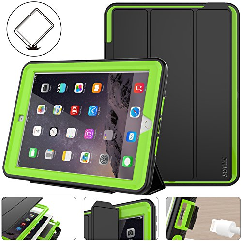 New iPad 2017/2018 Case, Shockpoof Protective 9.7 inch Case Rugged Smart Cover Auto Sleep Wake With Leather Stand Feature for New iPad 5th Generation Model (A1822/A1823/A1893/A1954) (Black/Green) - New Black Green