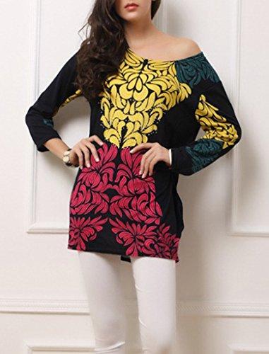 Bigood Mini Robe Femme T-shirt Chemise Blouse Grande Taille Chemisier Manches Longues Imprimé