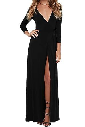 Vestido Maxi para Mujer Primavera Otoño Caliente Cuello En V De ...