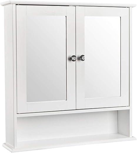 Amazon Com Bonnlo Bathroom Wall Cabinet Modern Double Mirror Door Wall Mount Wood Storage Shelf Indoor Organizer White Finish Kitchen Dining