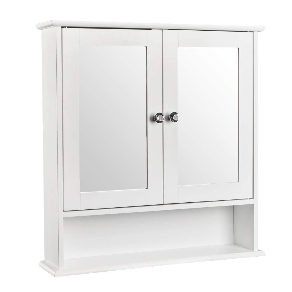 バスルーム 壁 キャビネット 鏡付き 多目的 収納 オーガナイザー ダブルドア オーバートイレ   B07KPXNJT9
