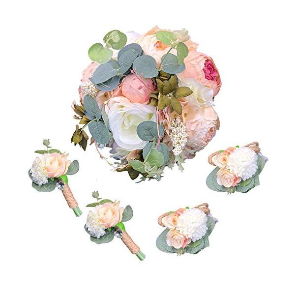 Abbie Home 5pcs Wedding Bouquet Kit – Artificial Roses Peony Lily Bridal Flowers Wrist Corsage Boutonnier Set