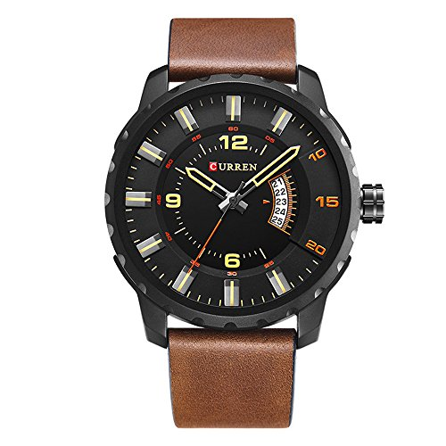 CURREN Men's Watch Multi-functional chronograph Fashion Business Complete Calendar 30 Meter Waterproof Brown Leather Strap Casual Leather Wrist Band watch 8245 (black brown)