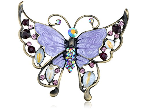 Alilang Rose Pink Clear Crystal Rhinestone Hand Painted Enamel Huge Butterfly Pin Brooch