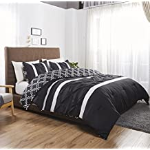 Felicite Home 3 Piece Printed Reversible Pinch Pleat Comforter Set Fade Resistant, Wrinkle Free, No Ironing Necessary, Super Soft,Luxury Goose Down Alternative Comforter Set,,Black,LUCCA, Queen