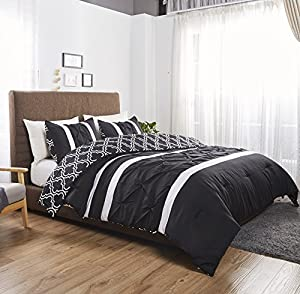 Felicite Home 3 Piece Printed Reversible Pinch Pleat Comforter Set Fade Resistant, Wrinkle Free, No Ironing Necessary, Super Soft,Luxury Goose Down Alternative Comforter Set, Queen, Black