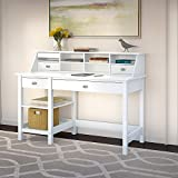 Bush Furniture Broadview Computer Desk with Open Storage & Desktop Organizer in Pure White