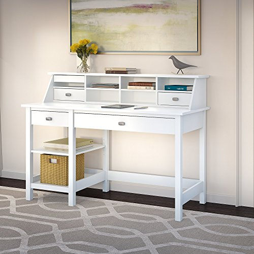 Bush Furniture Broadview Computer Desk with Open Storage & Desktop Organizer in Pure White by Bush Furniture