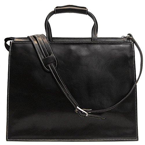 (Floto Mens Custom Initials Personalization Trastevere Leather Attache Briefcase in Black)
