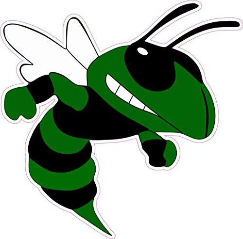 StickerTalk 7in x 7in Right Facing Angry Dark Green Hornet Sticker Vinyl Mascot Decal