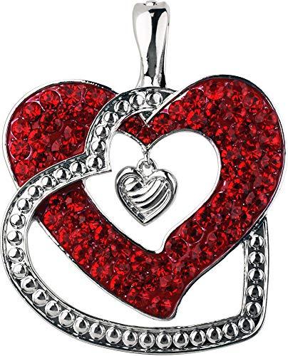 - Wearable Art by Roman Red Rhinestone Heart Pendant Red/Silver Tone