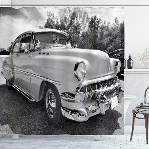"""Ambesonne Vintage Shower Curtain, 50s 60s Retro Classic Pin up Style Cars in Hollywood Movies Image Artwork, Cloth Fabric Bathroom Decor Set with Hooks, 84"""" Long Extra, White Black"""