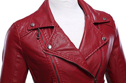 Tanming Women's Faux Leather Collar Moto Biker Short Coat Jacket (Medium, W-Red6) by Tanming (Image #2)