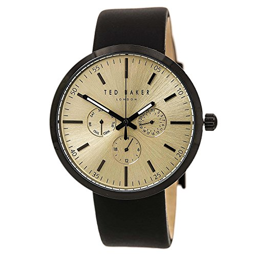 Ted Baker Men's 'Smart Casual' Quartz Stainless Steel and Leather Dress Watch, Color:Black (Model: - Watches Ted Baker Mens