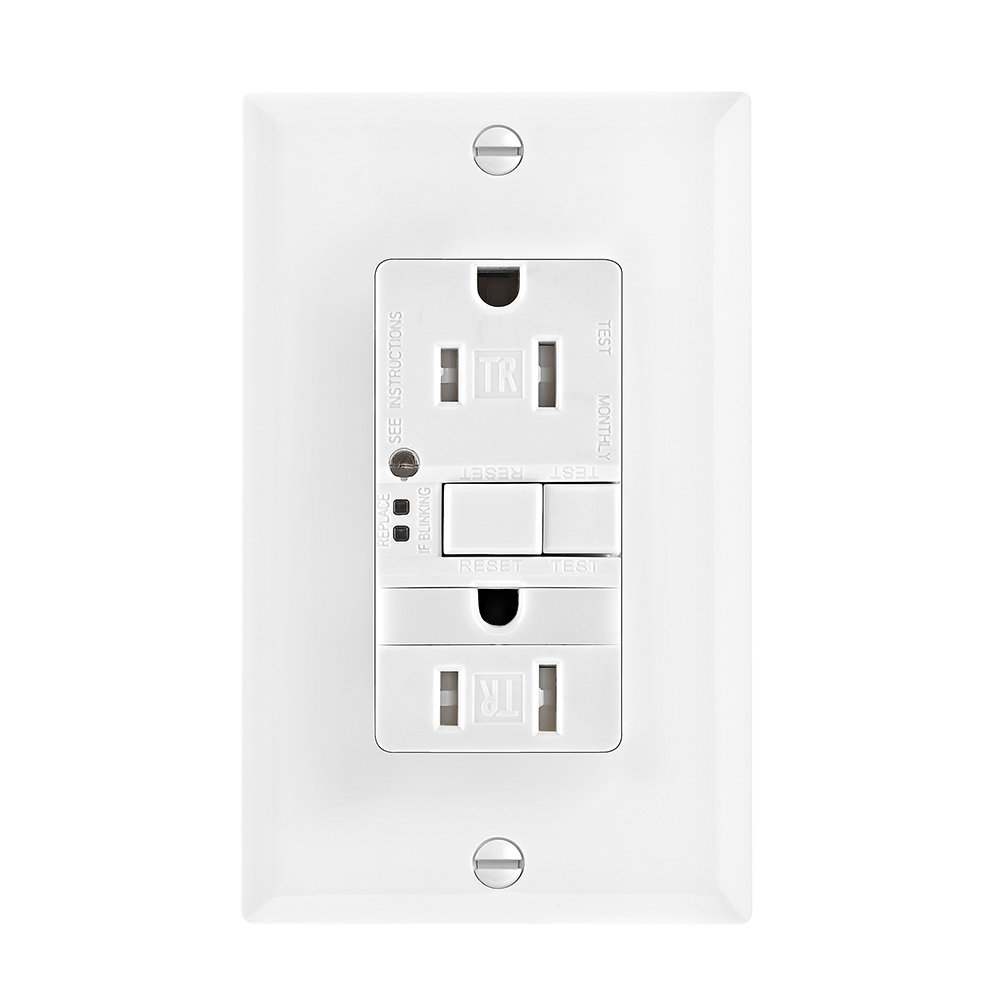 Eaton GFCI Self-Test 15A -125V Tamper Resistant Duplex Receptacle with Nightlight & Standard Size Wallplate, White Cooper Wiring TRSGFNL15W