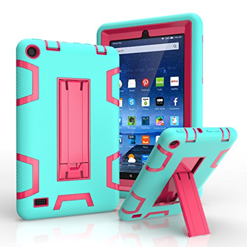Solobay CASE Amazon Fire HD7 2015 Rugged Case Kickstand Tablet Case Heavy Duty Dual Layer Tough Case 2 in 1 tablect pc case Rubber Child Proof Tablet Case FOR Amazon Fire HD7 by Solobay