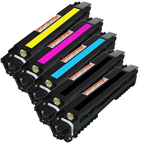 INK4WORK Set of 5 Pack CF350A, CF351A, CF352A, CF353A (130A) Compatible Toner Cartridge Combo for Color LaserJet Pro MFP M176n, M177fw Printer (Black x 2)
