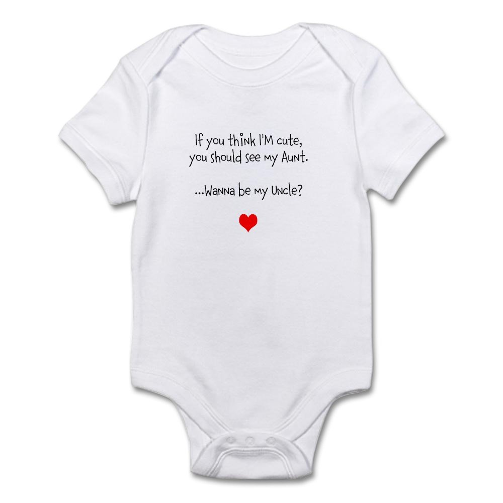 CafePress IF You Think IM Cute You Should See My Uncle Blue Cute Long Sleeve Infant Bodysuit Baby Romper