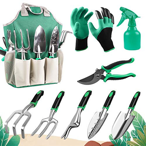 Garden Tools Set Water BOGER - 9 Piece Gardening Tool Kit with Heavy Duty Aluminum Hand Tool and Digging Claw Gardening…
