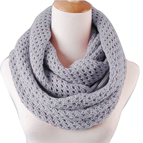 Eforstore Unisex Winter Warm Knitted Thicken Hollow Out Neckerchief Knit Infinity Scarf Christmas New Year Birthday Gift For Your Family and Friends Women Men (Light Grey)