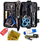 Camping Gear Tactical Survival Kit 14 in 1 | Hiking Backpack Outdoors| Car Emergency EDC Tools - SOS Disaster Preparedness Great Fishing Hunting Gifts for Men & Women