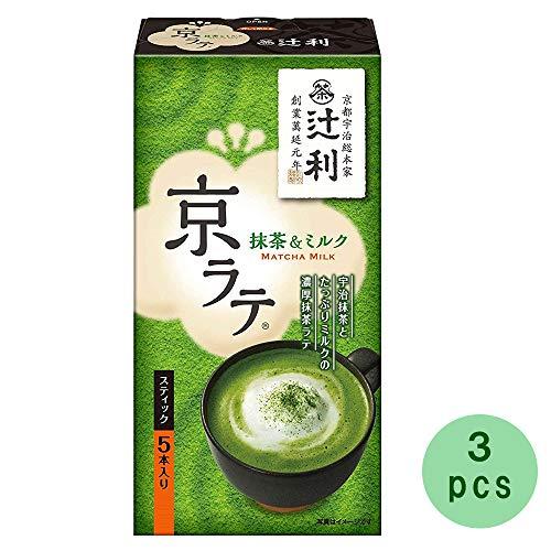 Tsujiri Matcha Milk Kyo Late Stick 5pcs × 3Set 2.5oz Japanese Green Tea Powder Kataokabussan Ninjapo