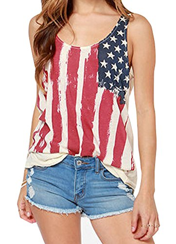 Women's July 4th USA Flag Chiffon Loose Tank Tops Patriotic Star Striped Sleeveless Tunic Tops Amercian Flag XL - Stitch Detail Tunic