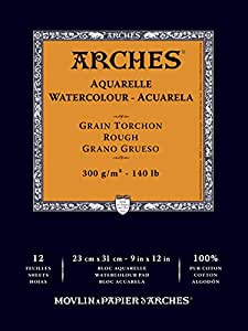 Arches Acid-Free Rough Aquarelle Watercolor Pad, 140 lb, 9 X 12 in, 12 Sheets, Natural White
