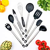 8-Piece Silicone & Stainless Steel Kitchen Cooking Utensil Tool Set, Non-stick, Non-scratch, Heat Resistant - Tongs, Turner, Spatula, Pasta Server, Spoon, Ladle, Strainer, Whisk.