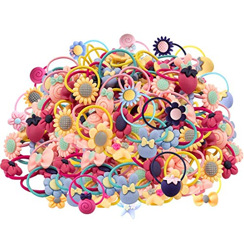 Girls Hair Ties, 100 pcs Girl Hair Elastic Ropes for Pigtail Ponytail - Pc 100%