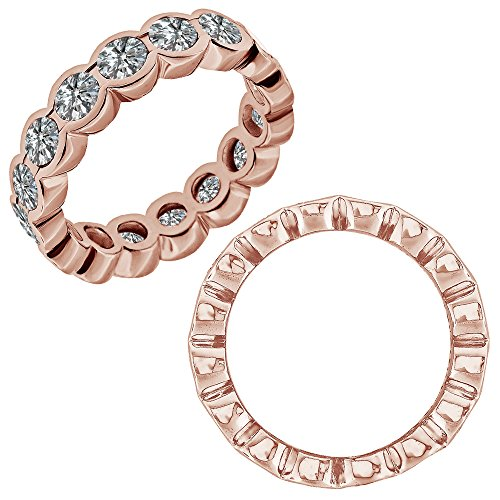 0.25 Carat G-H Diamond Beautiful Bezel Full Eternity Anniversary Band Ring 14K Rose Gold (Bezel Diamond Full Ct 1/4)