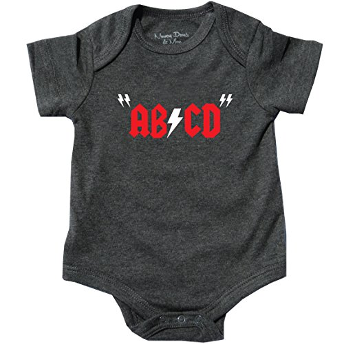 Onesie Rocks Baby T-shirt (Hilarious Bodysuit, Rock and Roll Shirt for Baby, Gray, 0-3 Months)