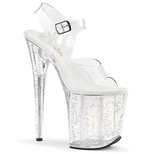 PLEASER Clear Ankle Strap Sandal Mini Glitter Platform Heel FLAMINGO-808MG