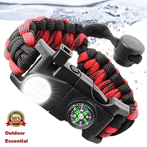 (Paracord Bracelet Survival Kit for Women or Men with Waterproof SOS LED Light Emergency Knife Whistle Compass Fire Starter for Camping Hiking Cycling)