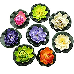 FQTANJU Foam Water Lily Flower Decor Artificial Floating Pond Plants Multicolor (8 Pieces/1.5″ h x 4″ Dia)