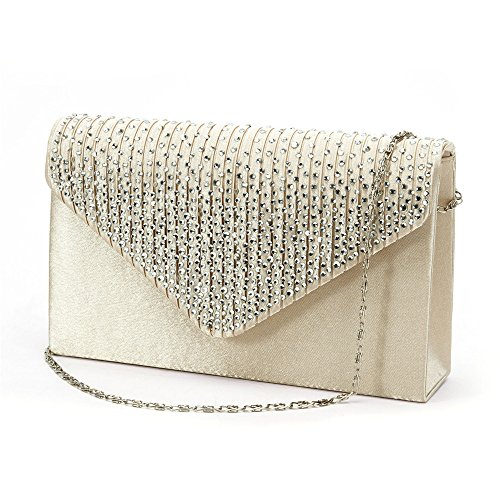 Nodykka Women Evening Envelope Rhinestone Frosted Handbag Party Bridal Clutch Purse Shoulder Cross Body Bag by Nodykka