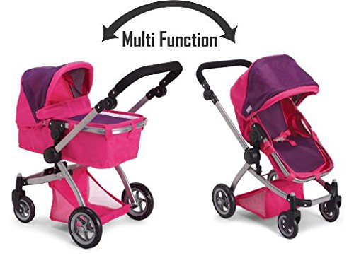 Amazon.com: Like Bugaboo Deluxe Doll Stroller Purple & Pink: Toys ...